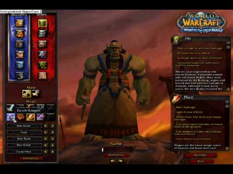 Wow Cataclysm Alpha Character Creation Screen Youtube