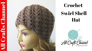 Repeat youtube video How to crochet a swirl pattern beanie (Half shell stitch) - Con Subtítulos - Yolanda Soto Lopez