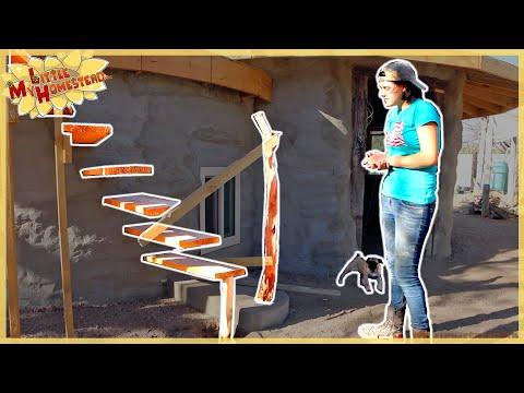 Inside Cob/Stucco & Starting Homemade Stair Railing     Shae's Earthbag Bedroom Ep21   Weekly Peek