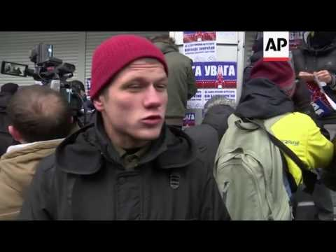 Ukraine nationalists protest outside  Russian bank