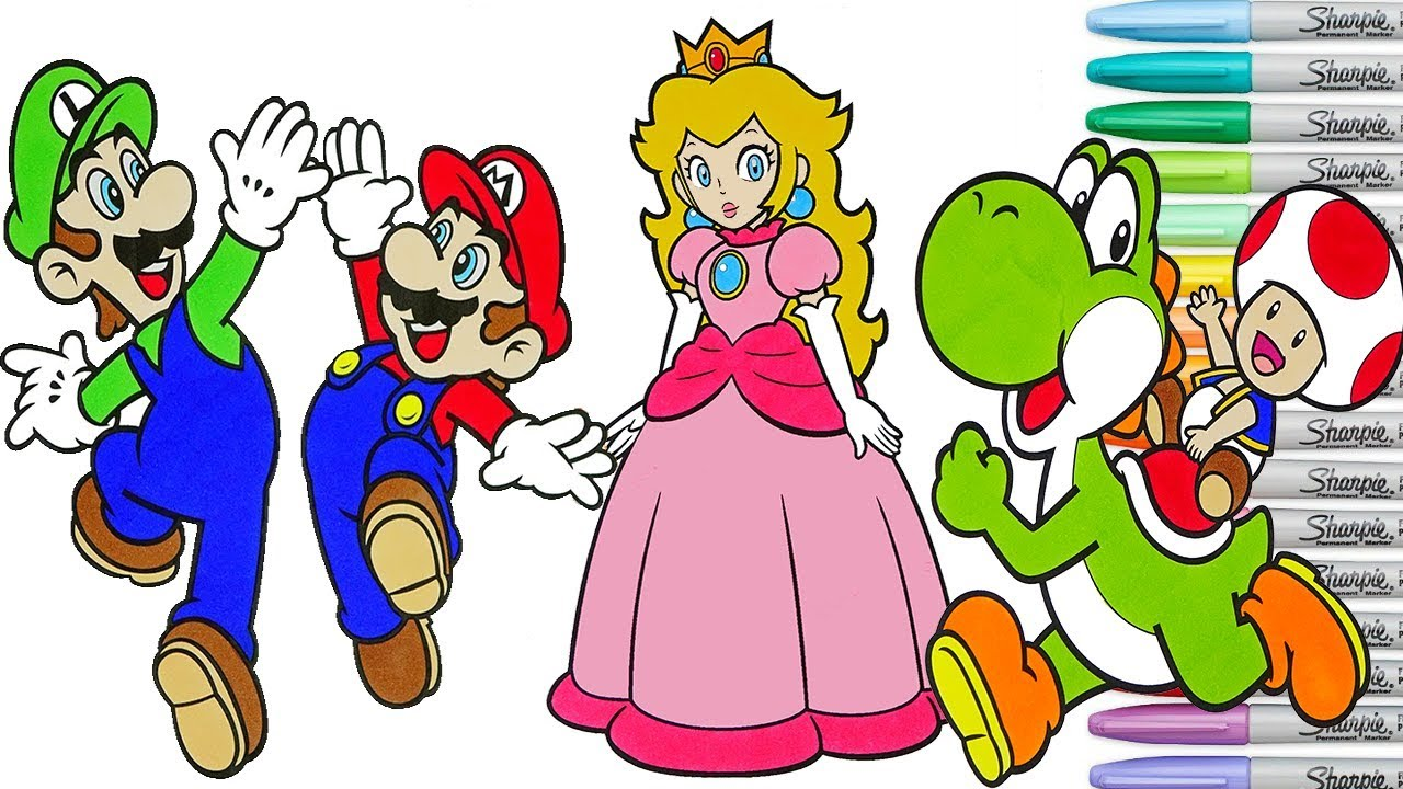 Super Mario Bros Coloring Book Pages Nintendo Luigi Yoshi Toad ...