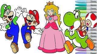 Super Mario Bros Coloring Book Pages Nintendo Luigi Yoshi Toad Princess Toadstool Rainbow Splash