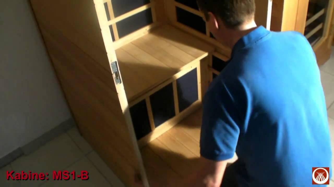 aufbau 1 personen infrarotkabine in der basis variante ms1 b youtube. Black Bedroom Furniture Sets. Home Design Ideas
