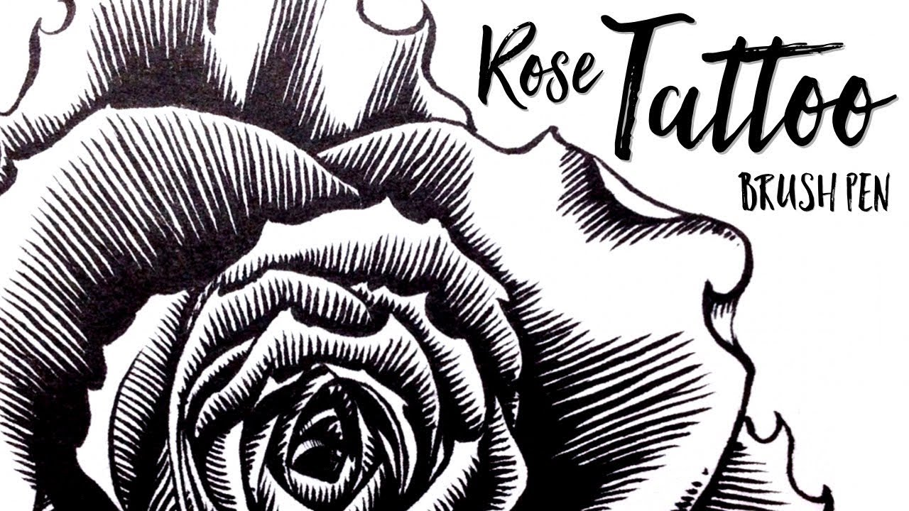 How To Draw A Rose Tattoo With Brushpen