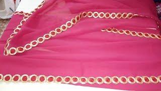 How To Design A Plain Saree At Home - Convert Plain Saree to Designer Saree with Lace