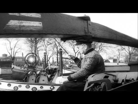 Cold war victims live on canal boats in Berlin, Germany. HD Stock Footage