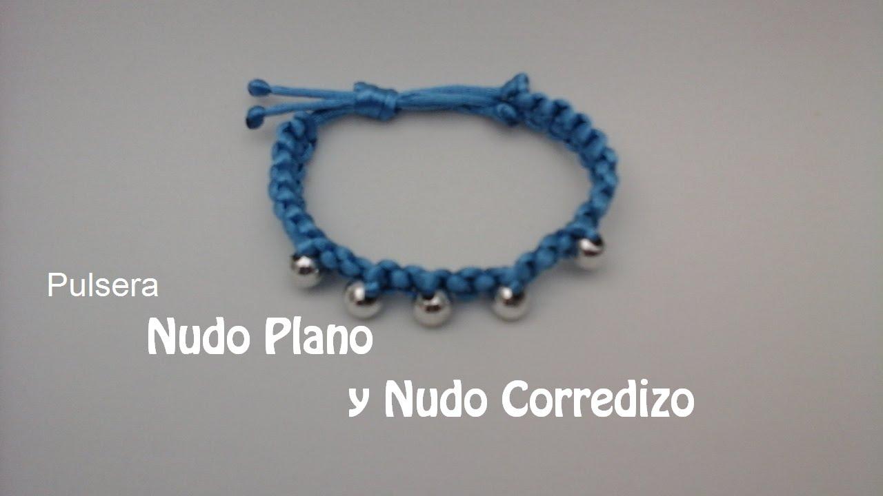 c66cb8589402 COMO HACER UNA PULSERA CON NUDO PLANO Y NUDO CORREDIZO(MACRAME) - YouTube