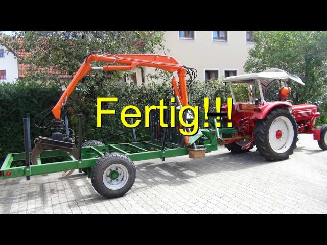 Rückewagen Eigenbau an Güldner G40s im Einsatz