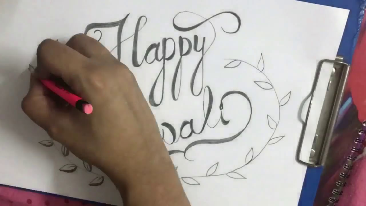 How to write happy diwali in calligraphy for beginners
