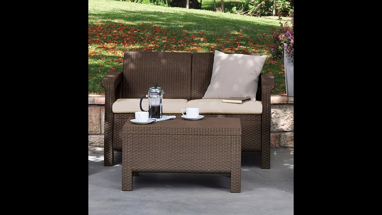 review keter corfu love seat all weather outdoor patio garden furniture w cushions brown youtube