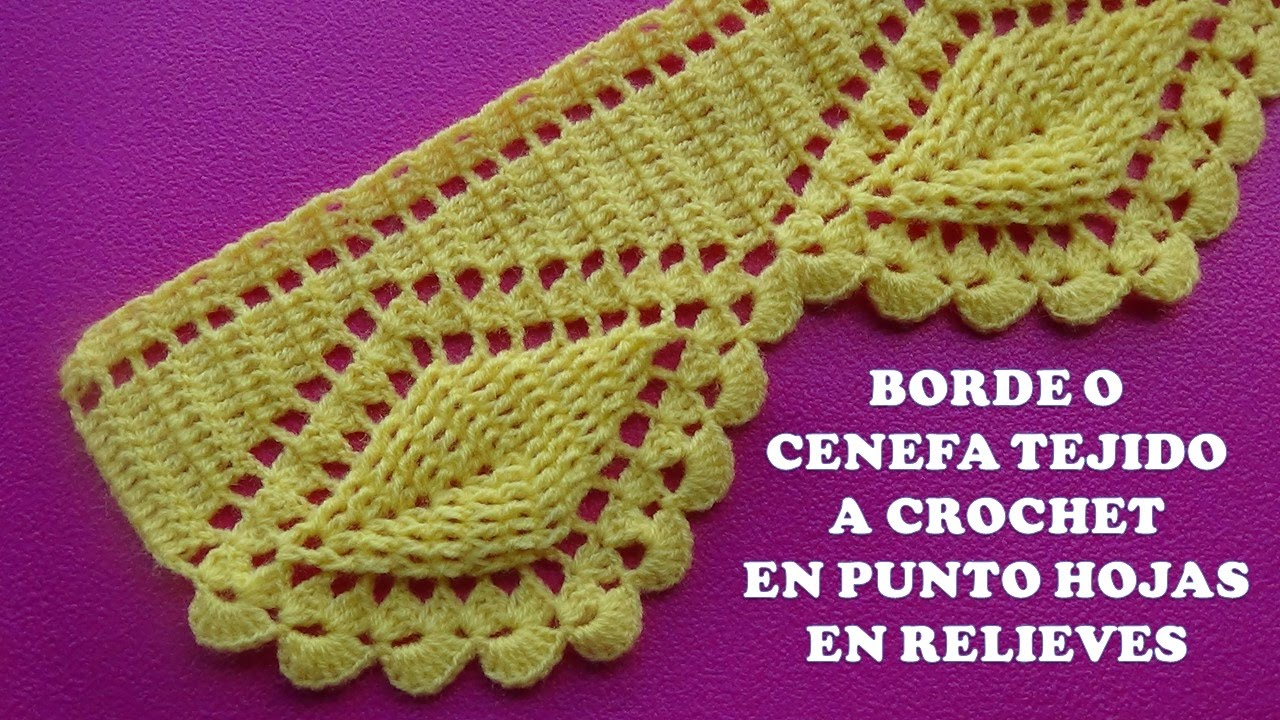 Borde o cenefa hojas en relieves tejido a crochet para colchas y cobijas paso a paso youtube - Cenefas de crochet ...