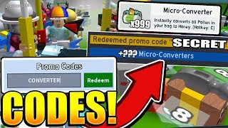 ALL 23 BEE SWARM SIMULATOR CODES! Roblox *MICRO CONVERTERS*