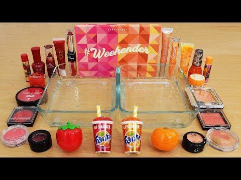 Strawberry vs Orange - Mixing Makeup Eyeshadow Into Slime ASMR 247 Satisfying Slime Video thumbnail