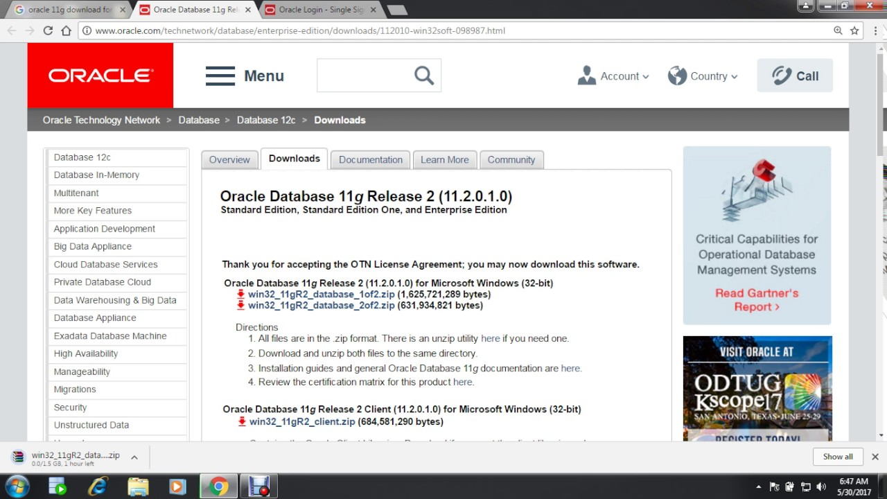 oracle database download 32 bit