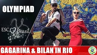 Polina Gagarina tries to Sambar while Bilan have fun in Rio.