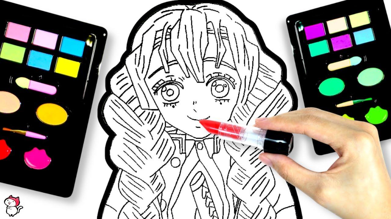 【鬼滅の刃のお絵かき♪】リカちゃんが甘露寺蜜璃のイラストを描いてぬりえメイクをするよ❤︎ リアルな化粧品を使ってメイクアップ❤︎ たまごMammy