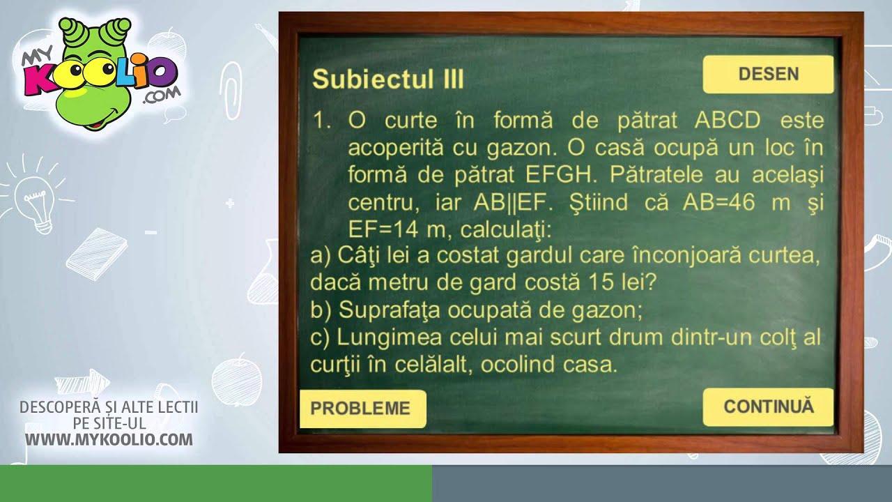 Test de matematică în vederea pregătirii pentru Evaluarea Națională 2016