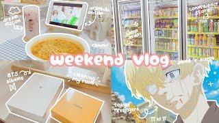 weekend vlog : cleaning, anime, room decor, unboxing bts album & gudetama instax, & tiktok drinks!