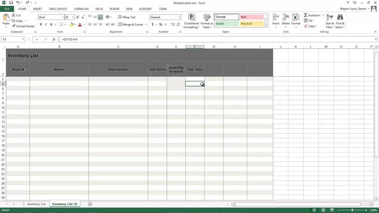 microsoft msexce excel inventory sheet multiply columns to get