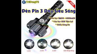 🔦 Đèn Pin 3 Đầu LED Siêu Sáng – Pin Sạc Qua Cổng USB 🔥