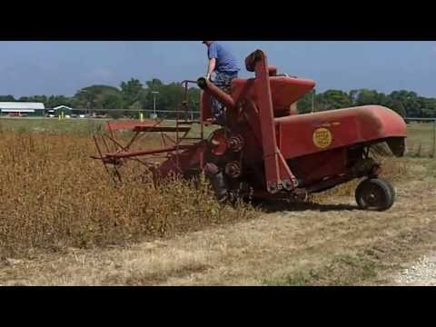 Antique Self Propelled Combines Harvesting Soybeans