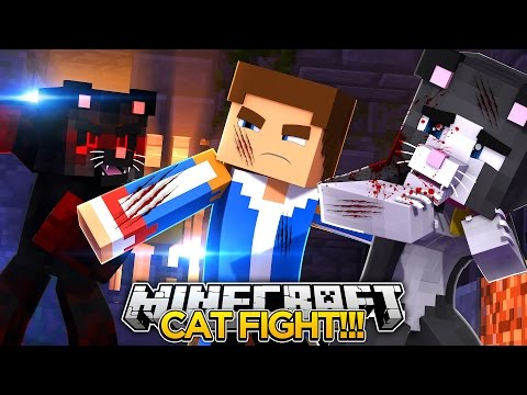CAT FIGHT!! Cassie The Cat V's Evil Cat!! - Little Donny Minecraft Custom Roleplay.