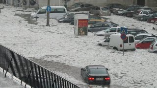 Сумасшедшая погода !! Самый сильный град в истории Мюнхена !! Германия