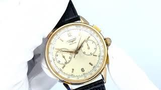Vidéo: Montre Longines Vintage Chronographe Flyback Or rose 18k mécanique de 1961.