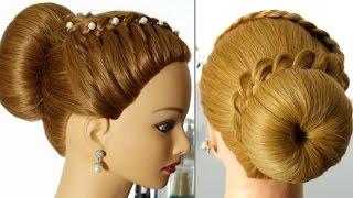 Прическа с плетением для средних волос. Пучок с косой.