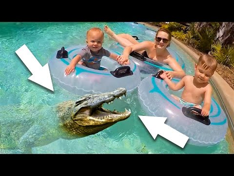 WATERPARK SPLASH PAD RIVER CROCODILE SURPRISE!