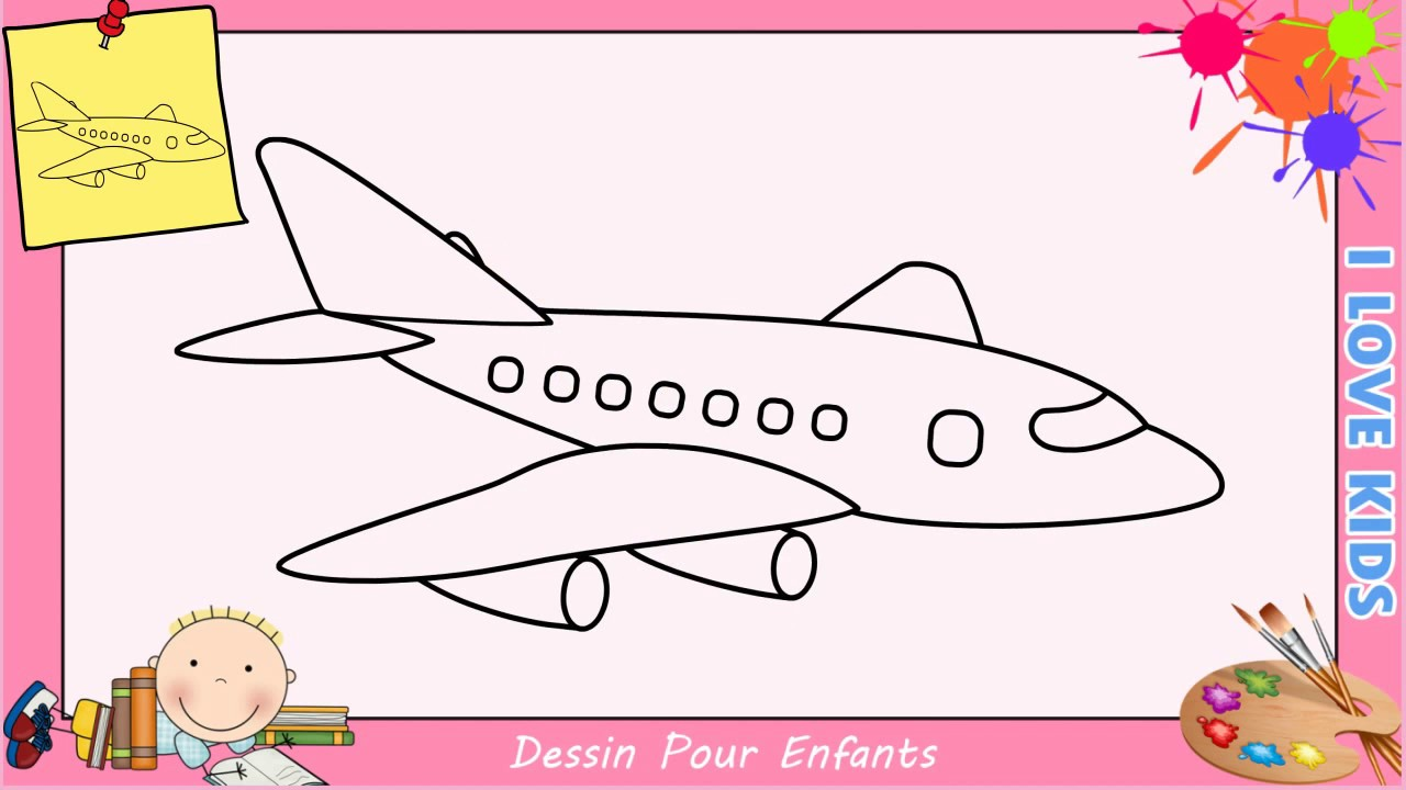 Comment dessiner un avion facilement etape par etape pour enfants 3 youtube - Dessin facile pour enfant ...