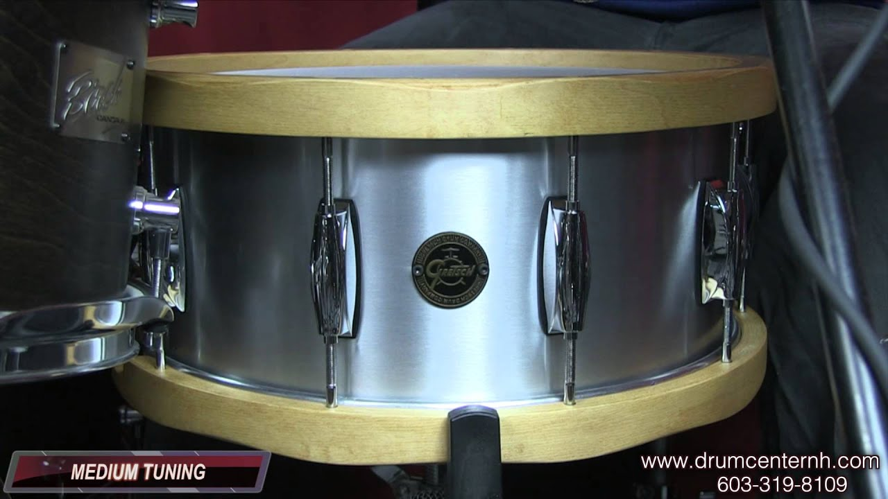gretsch gold series aluminum snare drum w wood hoops youtube. Black Bedroom Furniture Sets. Home Design Ideas
