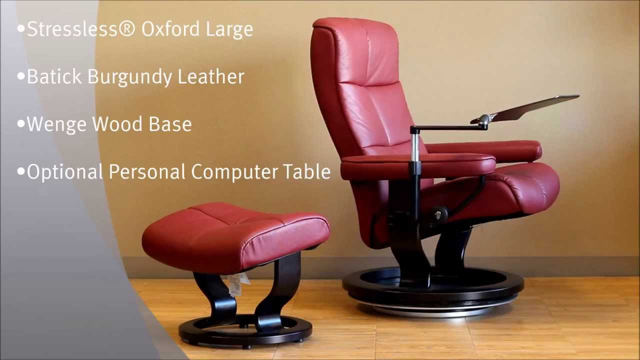 Stressless Oxford Recliner Chair Batick Burgundy Leather