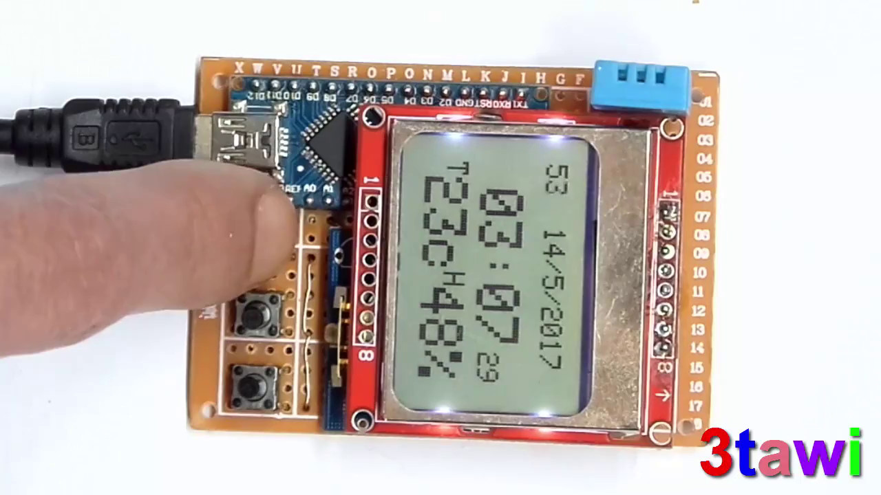 lcd 5110 RTC dht11 sensor arduino project
