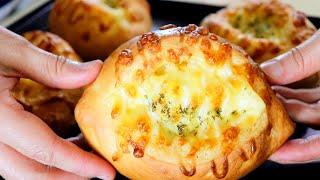 How to make corn cheese bread/Eggless/NO egg 콘치즈브레드 손반죽