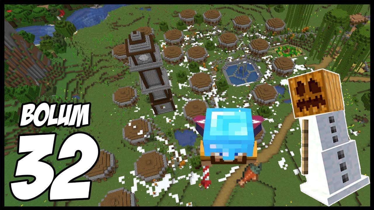 ABİMİN KÖYÜNE KIŞ GETİRDİK!   Minecraft: Modsuz Survival   S5 Bölüm 32