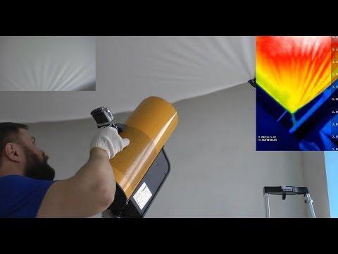 Натяжной потолок, монтаж с тепловизором как прогревается полотно. Своими руками.