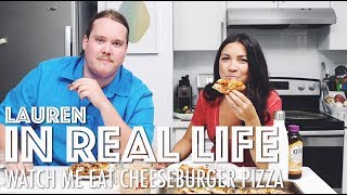 WATCH ME EAT CHEESEBURGER PIZZA //MUKBANG // ZOMBIE APOCALYPSE, DREAMS + MORE | Lauren In Real Life