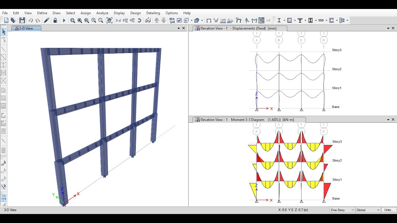 Analysis of 2D Reinforced Concrete Frames Using ETABS 2015 - YouTube