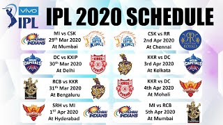IPL 2020 SCHEDULE : FULL Fixtures of ALL IPL Teams CSK, MI, SRH, RCB, KXIP, KKR, DC & RR