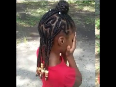 Kids braided name on natural hair! - YouTube