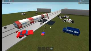 Train crashing cars!!! Roblox JonVinceIbarlin