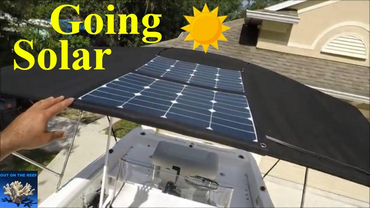 How to Install solar panels on your Fishing Boat Bimini DIY Acopower 12v 70  Watts Foldable Solar