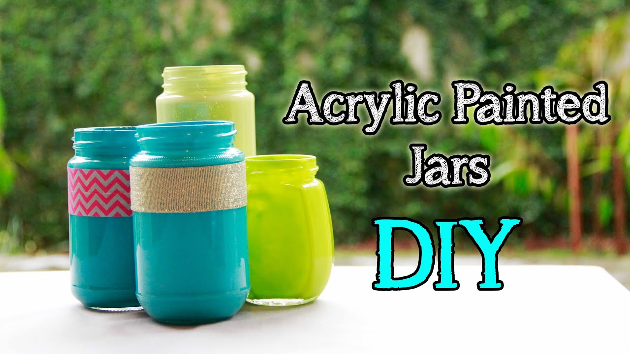 Hold on don 39 t throw away your used jars or bottles for Can acrylic paint be used on glass bottles