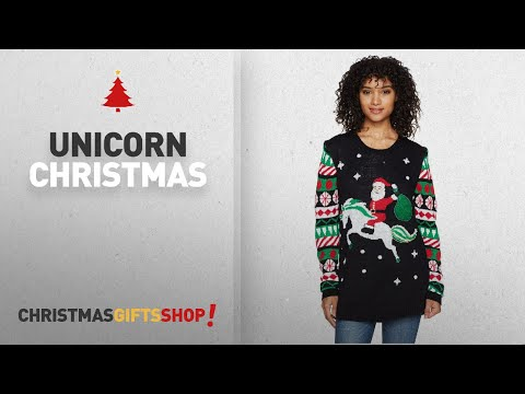 Top Unicorn Christmas Ideas: Derek Heart Women's Light up Christmas Unicorn Sweater, Black, M
