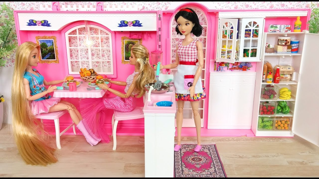 barbie doll kitchen set video on youtube small house