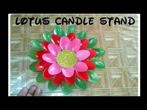 Plastic Spoon Lotus Flower Candle Stand Diwali Decoration Candle