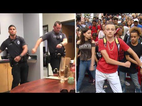 "Iowa Cops vs. Break Into ""Backpack Kid"" Dance"