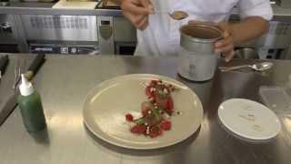 Sang-Hoon Degeimbre prepares a dessert at his Michelin restaurant