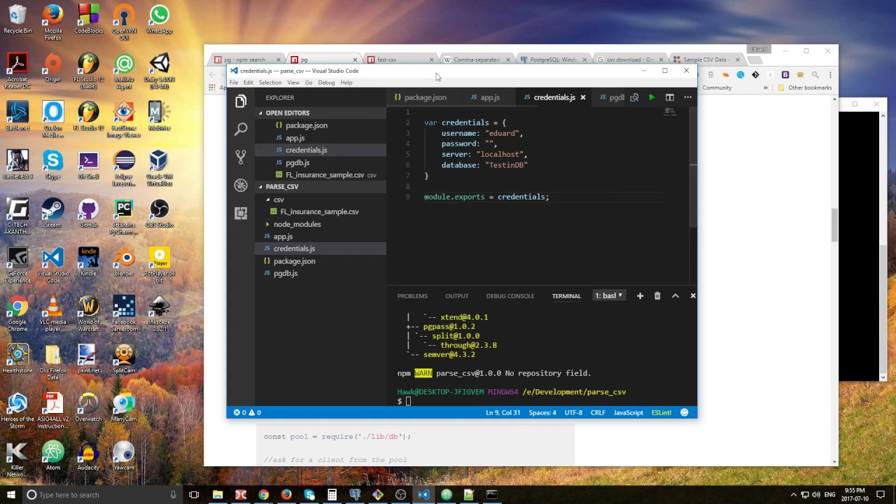 Parsing CSV Files Using NodeJS and Storing Data in PostgreSQL